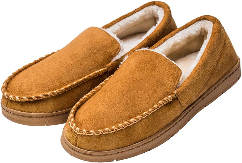 festooning Mens Comfort Memory Foam Moccasin Slippers Breathable Microsuede House Shoes w//Anti-Slip Rubber Sole