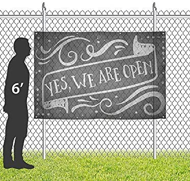 We are Open CGSignLab 12x8 Yes Chalk Banner Wind-Resistant Outdoor Mesh Vinyl Banner