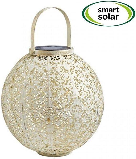 Smart Garden - Farol Solar para jardín de Damasco, Color Crema para Exteriores, para Colgar o de Mesa, Efecto Dorado Cepillado, Detalles intrincados, se Ilumina al Atardecer: Amazon.es: Jardín