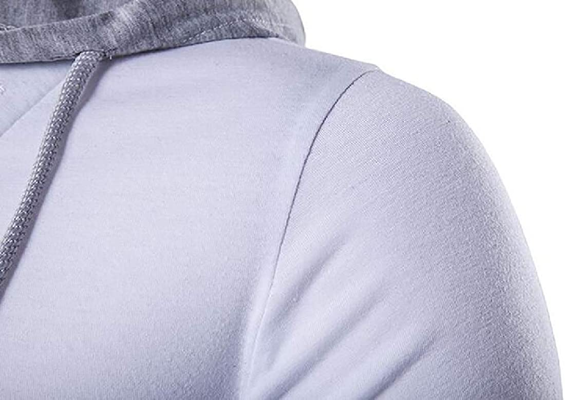Qhghdgysd Men Sweatshirt Gym Workout Slim Stitching Casual Pullover Hooded Sweatshirts