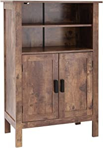 usikey Retro Wooden Bookcase with Double Door, Storage Cabinet, Bathroom Cabinet, Shoe Bench, Storage Rack Shelf for Books, for Living Room Office YSNG003F- (Rustic Brown)
