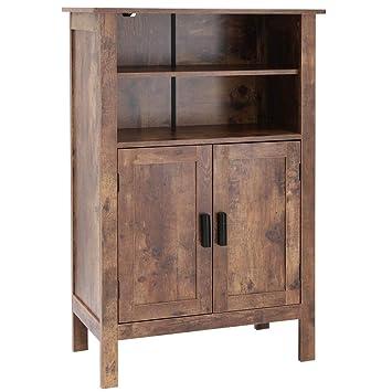 Amazon.com: usikey - Estantería retro de madera con doble ...
