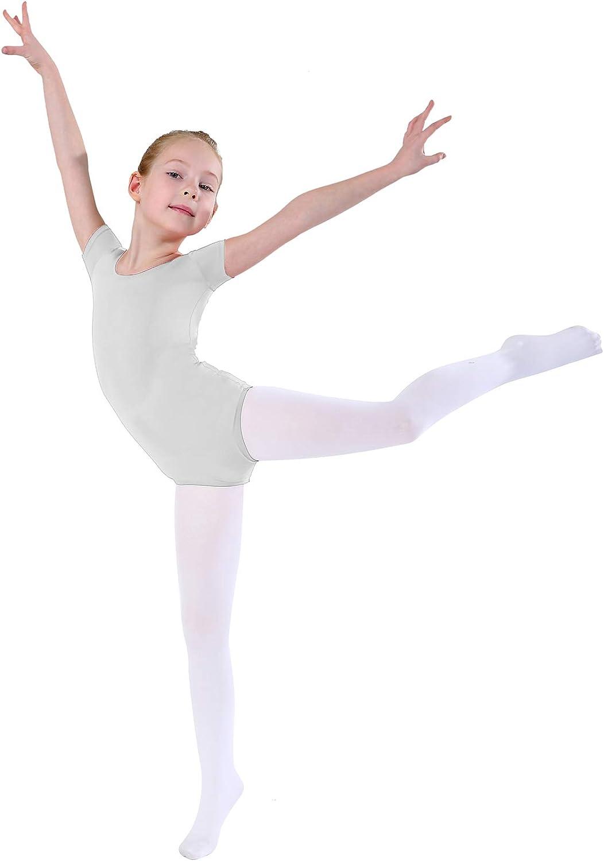Girls Short Sleeve Leotard Lycra Spandex Ballet Dance Bodysuit