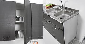Mueble para fregadero de cocina, de 135 x 60 cm, con doble puerta ...