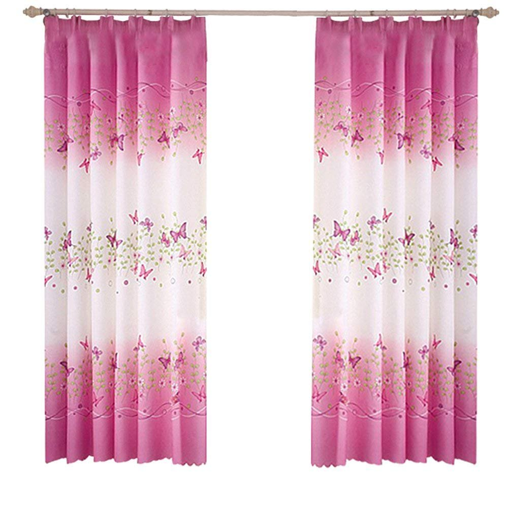 1m * 2m Curtains Rural Style Willow Leaves Pattern Offset Blind Printed Glass Yarn for Door Window Decor (Green,2pcs) seguryy