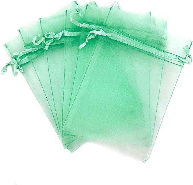 100pcs Organza Printed Bags with Ribbons Wedding Gifts Candy Jewelry Bags