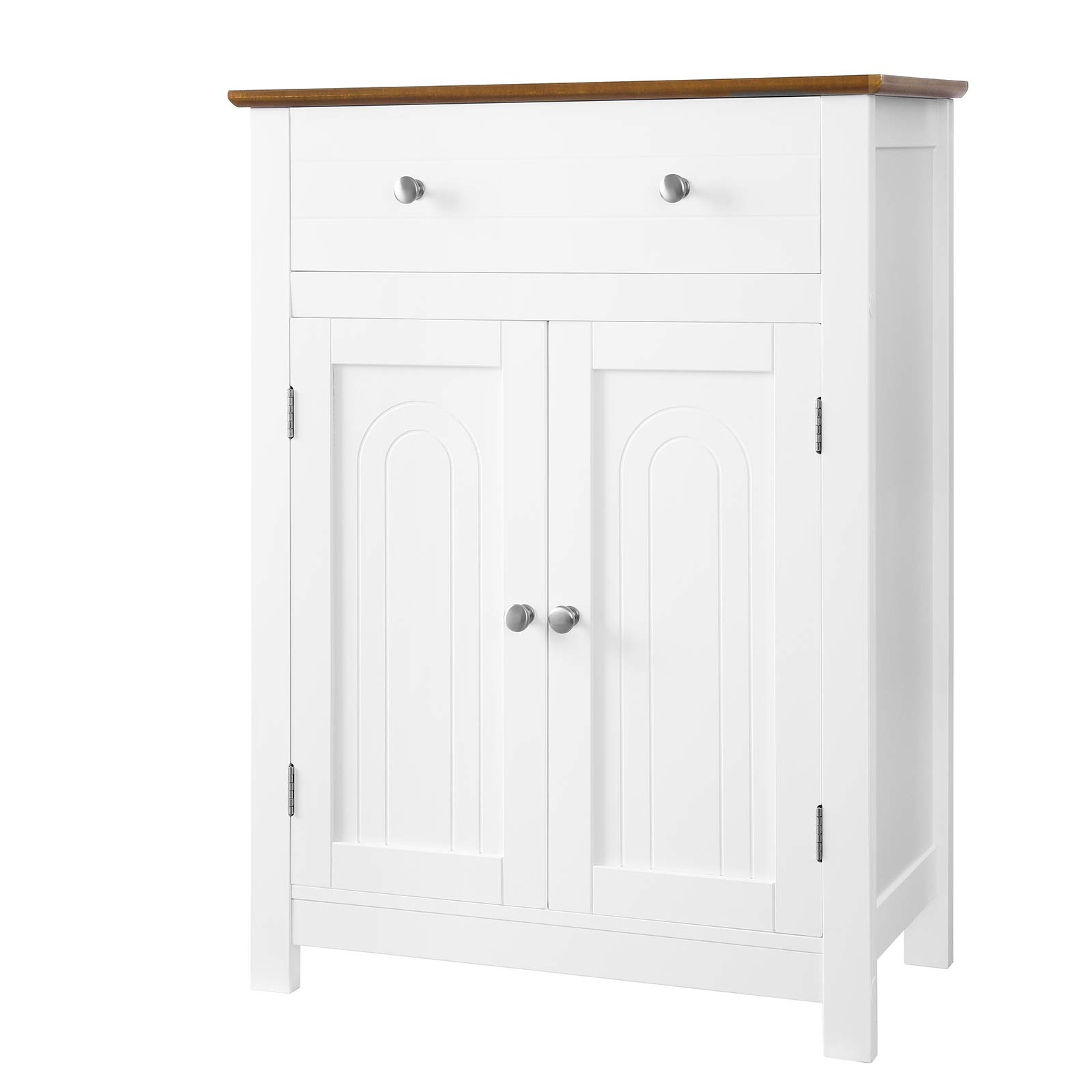 SONGMICS Free Standing Bathroom Cabinet with Large Drawer and Adjustable Shelf, Kitchen Cupboard, Country Style, Wooden Entryway Storage Cabinet, 23.6''L x 11.8''W x 31.5''H, White & Brown, UBBC62WT