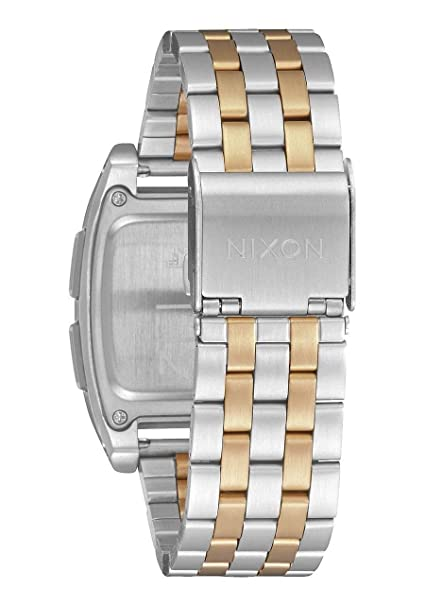 Amazon.com: Nixon Base Silver/Light Gold Mens Retro Style Smart Watch (38mm. Digital Face/Silver & Light Gold Stainless Steel Band): Watches