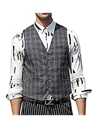Zicac Men's Gentleman British Style Suit Separate Plaid Vest