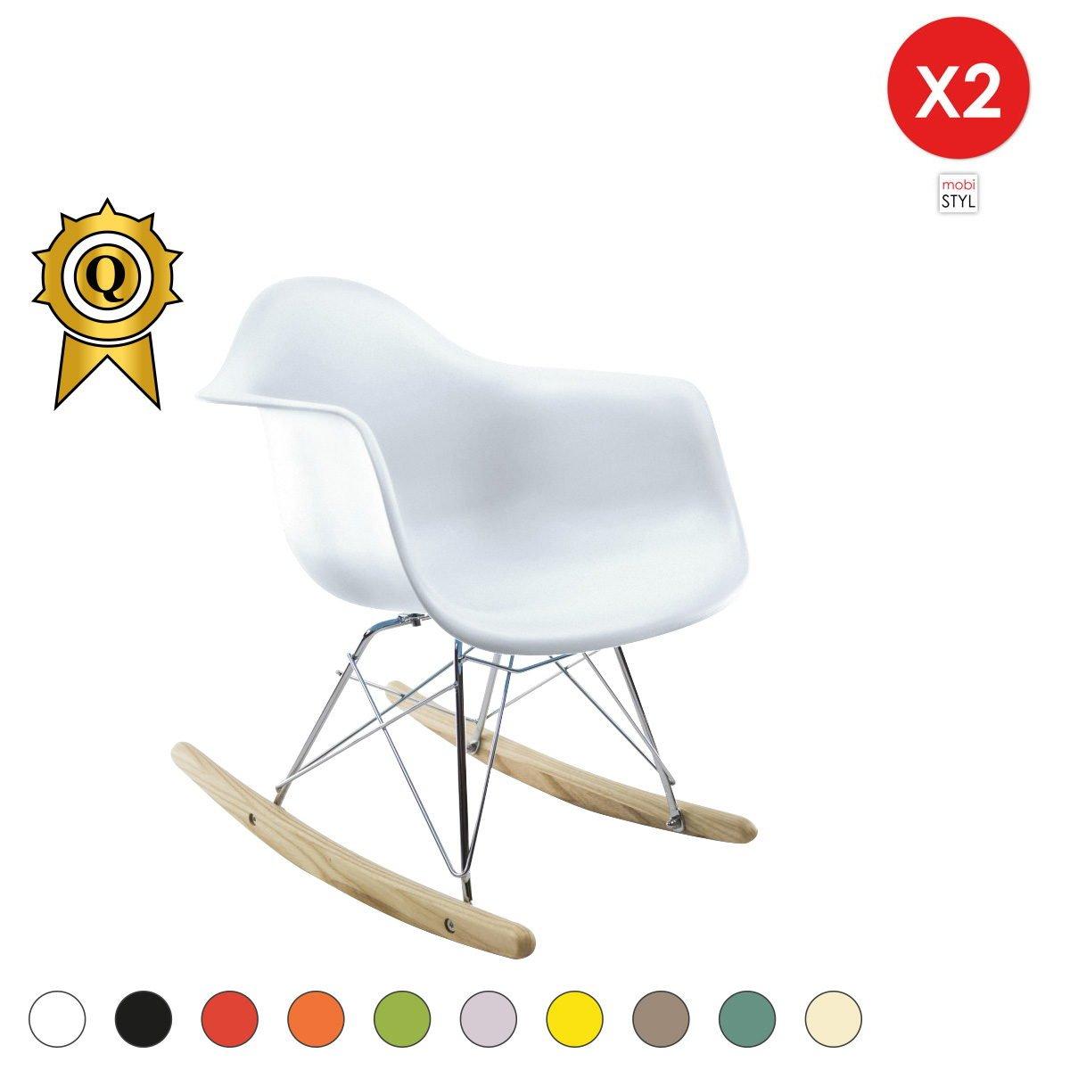 Promo 2 x Fauteuil à Bascule Enfant Inspiration Eiffel Pieds Bois Assise Blanc Mobistyl® RARK-WH-2