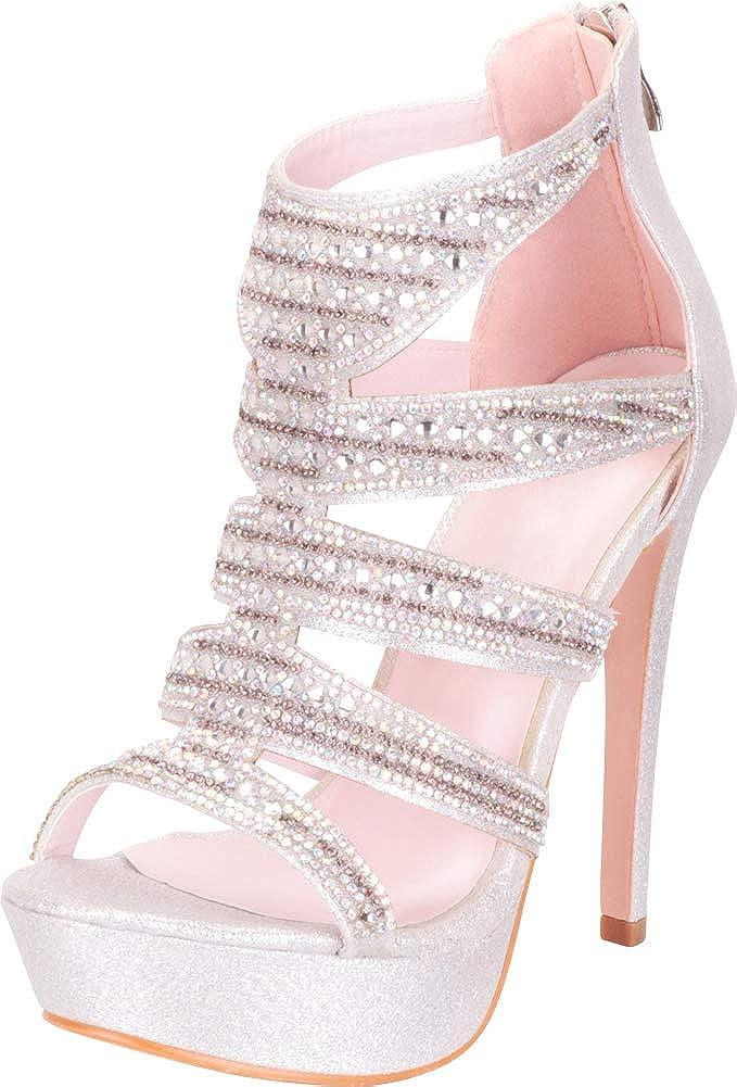 Silver Glitter Cambridge Select Women's Cutout Caged Crystal Rhinestone Chunky Platform High Heel Dress Sandal