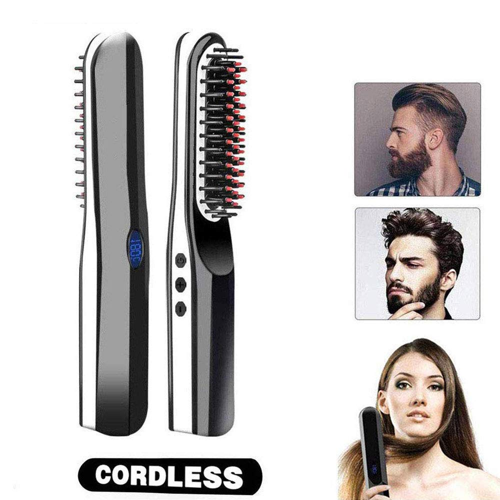 Cordless Straightening Brush, Portable Anti-Scald Beard Straightening Brush with LCD Display-Beard Comb, 2 in 1 USB Rechargeable Hair Comb Curling Iron Comb For All Hair Types