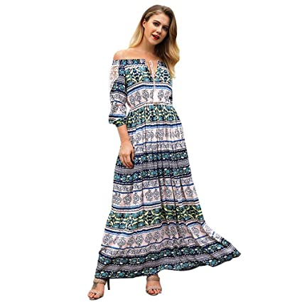 fa5f882243 Onepiece Western Dress Women Summer Spring Long Dress Off Shoulder 3/4  Sleeve Bohemia Print