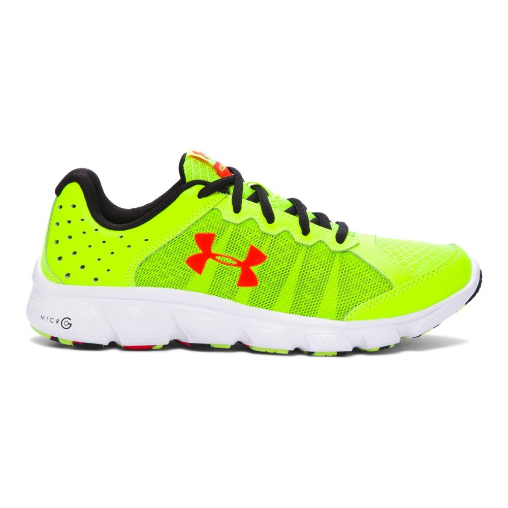 Under Armour Kids Boy's UA BGS Micro G? Assert 6 (Big Kid) High-Vis Yellow/White/Anthem Red Sneaker 3.5 Big Kid M by Under Armour