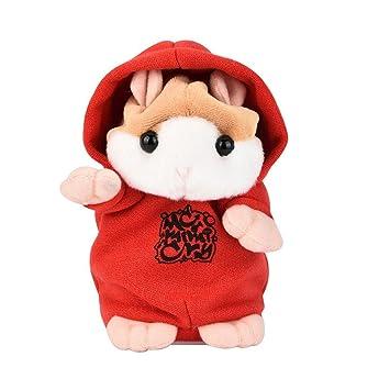 ASHOP Hámster de roca, Lindo gracioso hablando hámster ratón peluche juguetes (rojo)