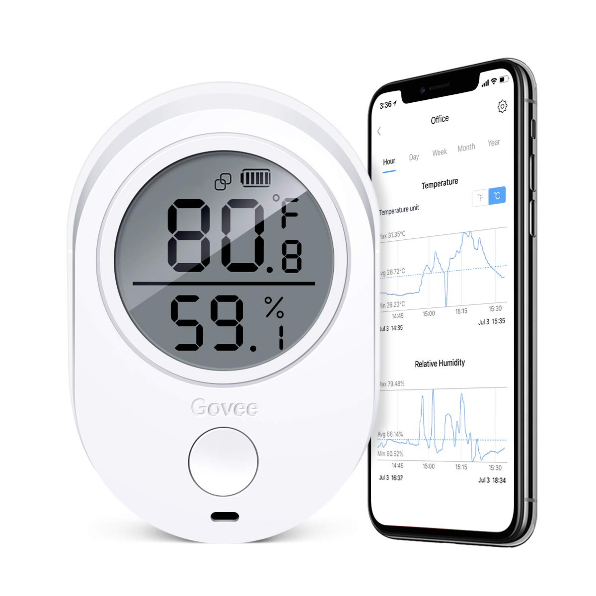Govee Temperature Humidity Monitor, Indoor Wireless Thermometer Hygrometer Gauge, Bluetooth Temp Humidity Sensor with Alert, Data Export for Home Room House Garage Cigar Humidor Wine Cellar Greenhouse by Govee