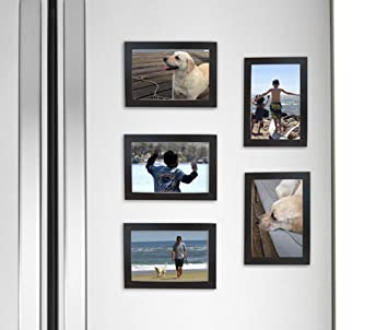 fridgepic wood magnetic photo picture frames black set of 5 4x6