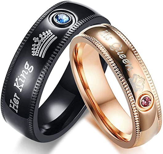 AONEW Black Gold Plated His Her Couples Ring Round Black Cubic Zirconia Solitaire Women Wedding Engagement Ring Set /& Mens Double Row Wedding Band