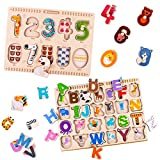 iPlay, iLearn Kids Wooden Peg Puzzles Play Set, Alphabet, ABC, 123 Board Blocks, Classic Magnetic Letters and Numbers Knob Jigsaw, Learning Toy Gifts for Age 1, 2, 3, 4, 5 Year Olds Toddlers Baby Girl