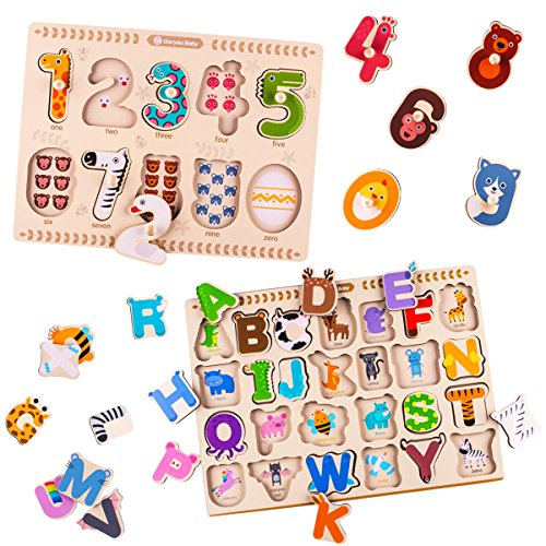 iPlay, iLearn Kids Wooden Peg Puzzles Play Set, Alphabet, ABC, 123 Board Blocks, Classic Magnetic Letters and Numbers Knob Jigsaw, Learning Toy Gifts for Age 1, 2, 3, 4, 5 Year Olds Toddlers Baby Girl ()