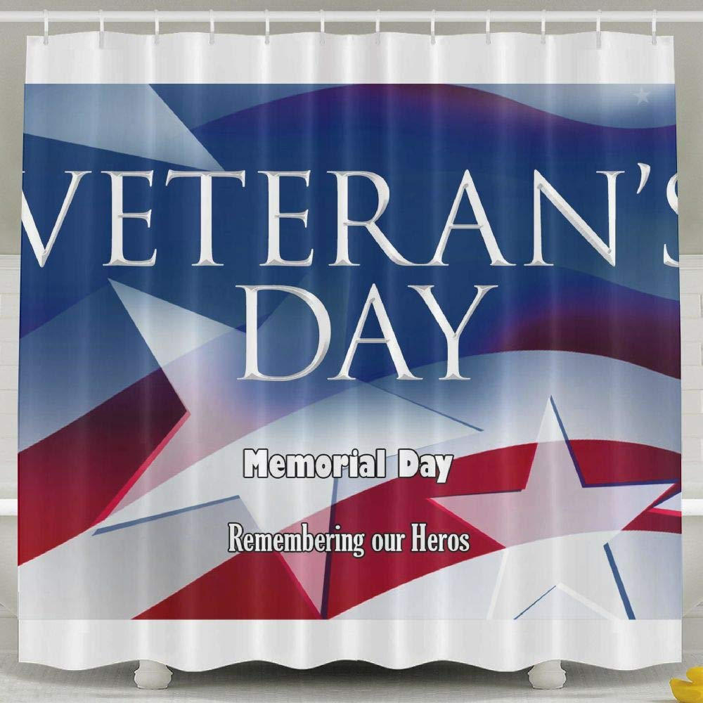 GCVYZL Bathroom Curtain-Remembrance Honoring Our Veterans Everyday Bath Decorations Bathroom Decor Gifts for Men and Women,60 X 72 Inch