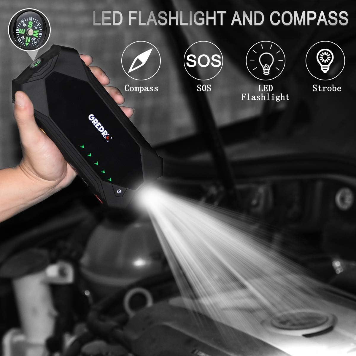 Amazon.com: GREPRO Arrancador de coche 1200 A pico 18000 mAh ...