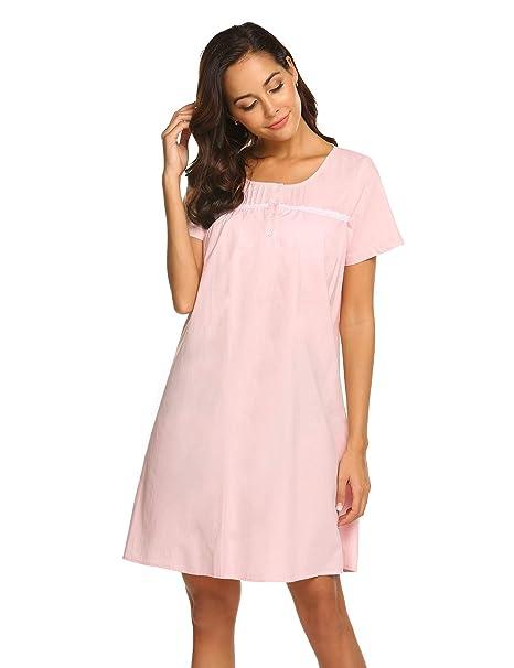 Ekouaer Womens Cotton Victorian Vintage Nightgown Short Sleeve Nightshirt  Knee Length Sleepdress Misty Rose  Amazon.ca  Clothing   Accessories 381d0b799