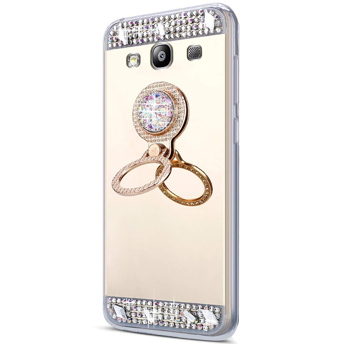 SainCat Coque Galaxy S3, Ultra Slim Silicone Paillette Glitter Ours Strass Antichoc Ultra Resistante Support Anneau Miroir Coque pour Samsung Galaxy S3-Argent