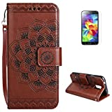 Samsung Galaxy S5 Wallet Case [Free Screen Protector] KaseHom Premium Flip Leather Holster Retro Mandala Embossed Design with Lanyard [Card Slot] Magnetic Folio Cover for Samsung Galaxy S5 Brown