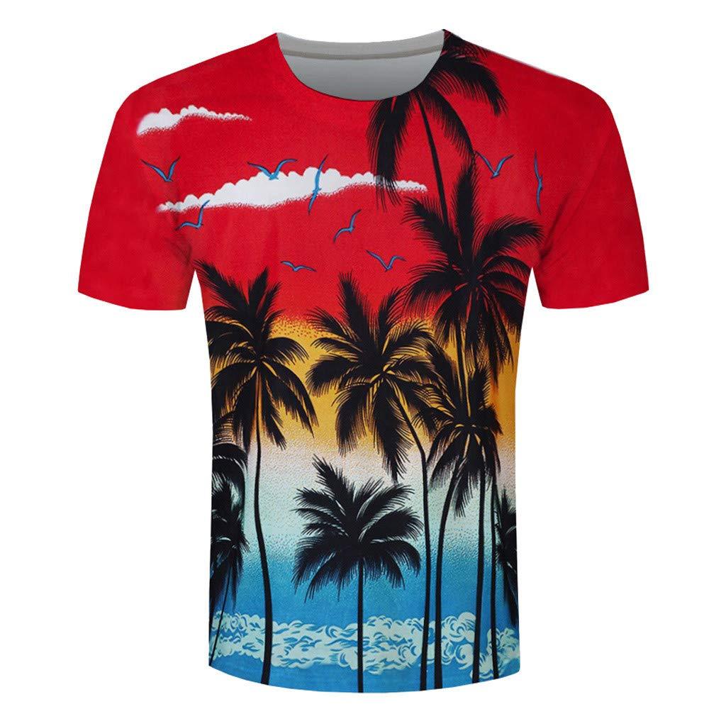 Allywit-Mens Fashion Leisure 3D Beach Hawaiian Wind Short Sleeve T-Shirt Blouse Red