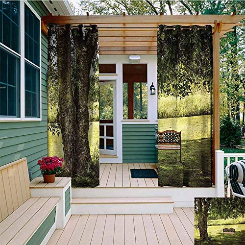 Outdoor Grommet Top Curtain Panel,Tree Wooden Bench at Park,for Patio/Front Porch,W108x72L (Highland Park Bench)