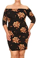 Womens Plus Size Off Shoulder Sleeves Floral Print Midi Dress. MADE IN USA