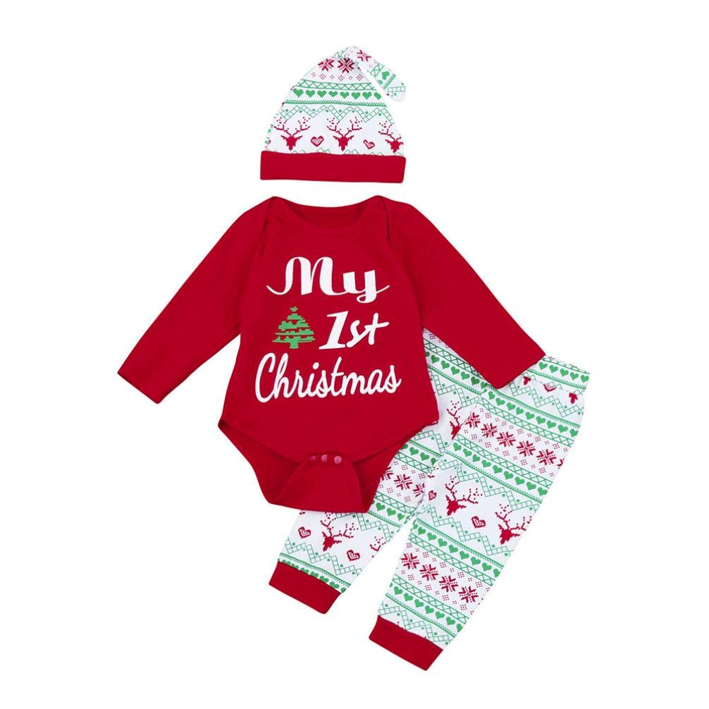 uBabamama 3Pcs Infant Baby Print Letter My First Christmas Romper+Pants+Hat Christmas Outfits Set Clothes