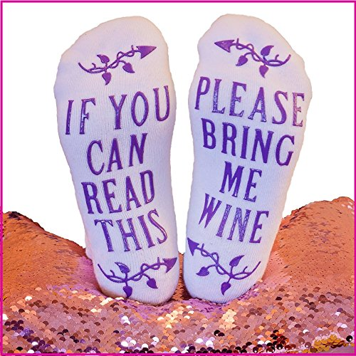Party Wiz Funny Novelty Ankle Socks - If You Can Read This Bring Me A Glass Of Wine Socks. Best Hostess or Housewarming Gift For Women or Wine Accessory Lovers.