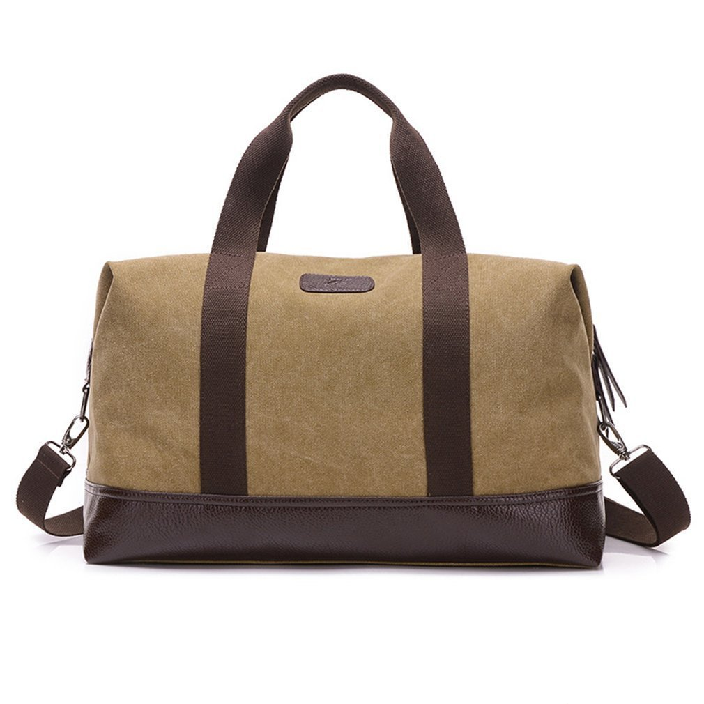 Weekender Travel Overnight Bag Canvas Leather Duffel Tote (Khaki)