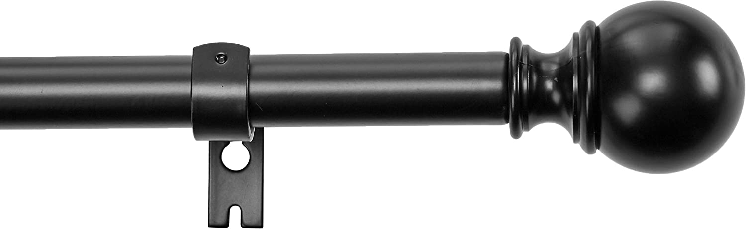 "Basics 1"" Curtain Rod with Round Finials - 72"" to 144"", Black: Home & Kitchen"