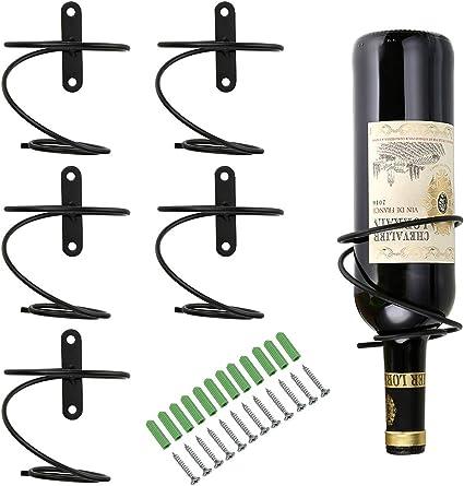 Portabottiglie a Spirale per Bar con Vite 4 Pezzi Portabottiglie da Vino in Ferro a Parete Espositore per Bottiglie di Vino Bancone Bar Bottiglia di Vino da Parete in Ferro Nero
