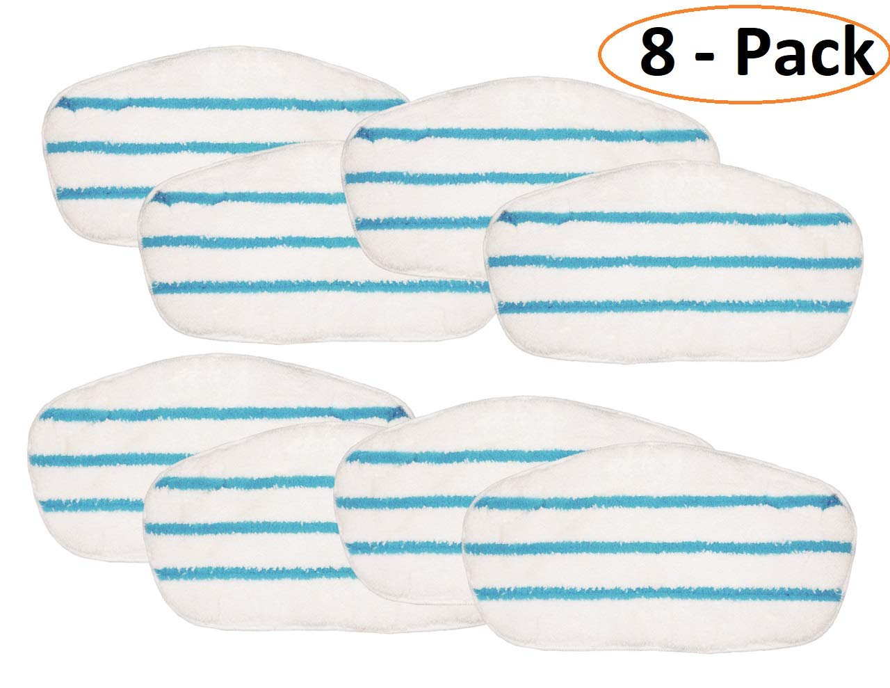 Flintar MP-P101-8 Premium Microfiber Pads Compatible with PurSteam PureSteam ThermaPro 10-in-1 Steam Mop Cleaner Replacement Steam Mop Pads Refills (8 – Pack)