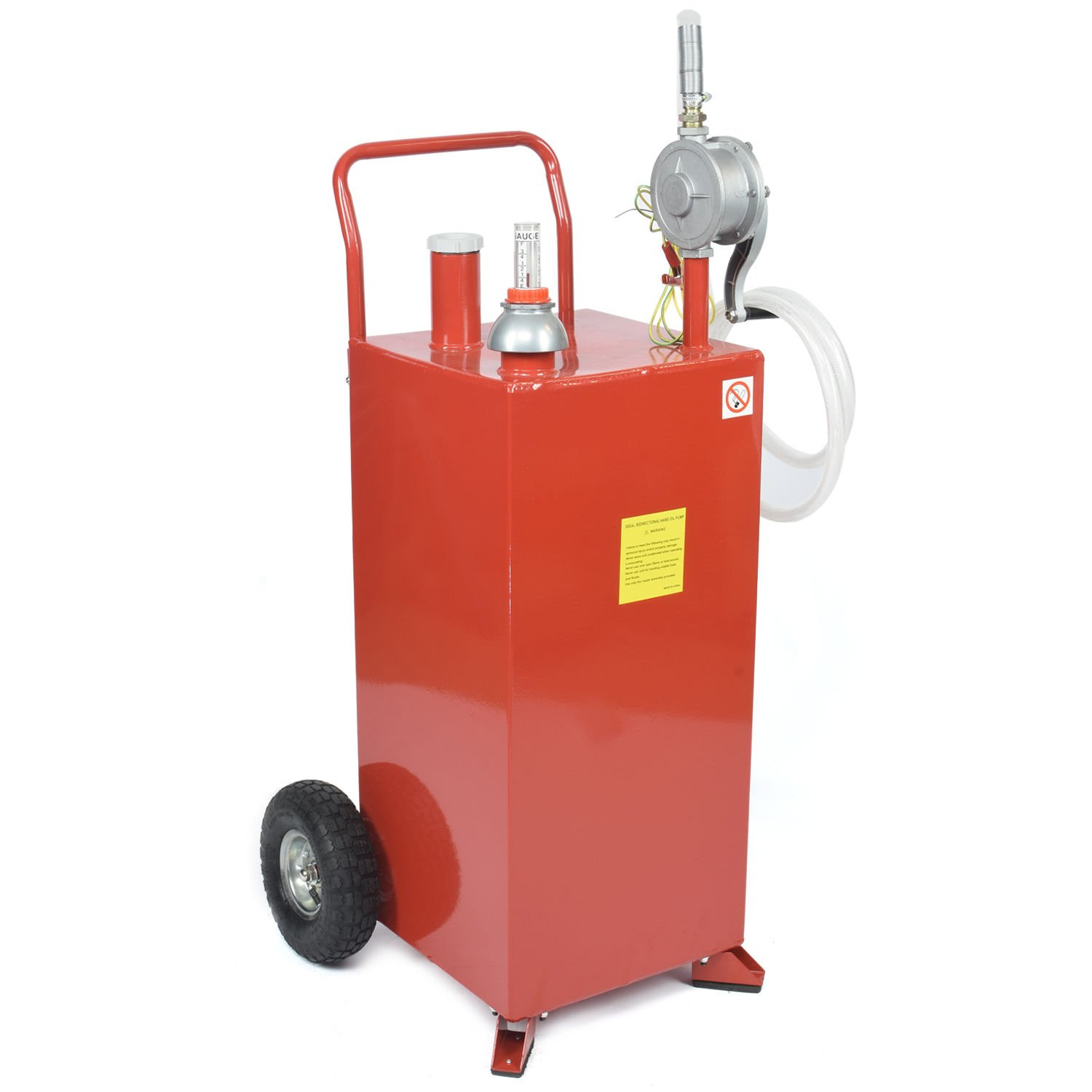30 Gallon Gas Fuel Diesel Caddy Transfer Tank Container w/ Rotary Pump Tool by Wang Tong Shop (Image #1)