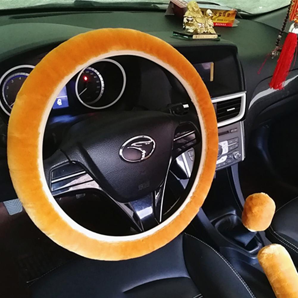 TR.OD 3Pcs//Set Car Soft Steering Plush Wheel Cover Handbrake Accessory Automotive Interior Case White