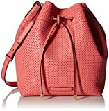 A|X Armani Exchange Perforated Pebble Pu Bucket Bag, Soft Coral/Nude