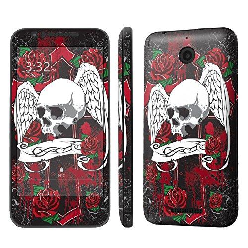 HTC Desire [510] [512] Skin [NakedShield] Scratch Guard Vinyl Skin Decal [Full Body Edge] [Matching WallPaper] - [Skull Wing] for HTC [Desire 510 / 512]