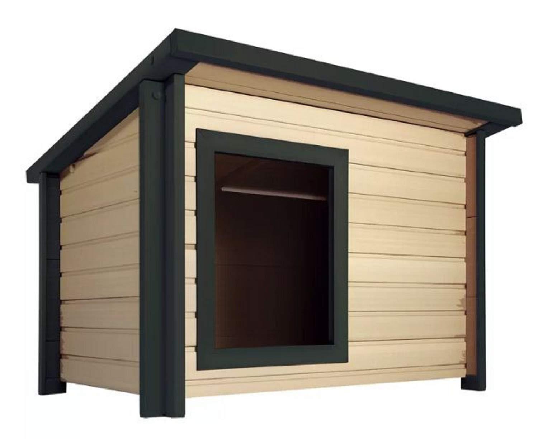 Jumbo Wood Dog House. Adela Rustic Lodge Style Wood Dog House Made from EcoFLEX (Jumbo)