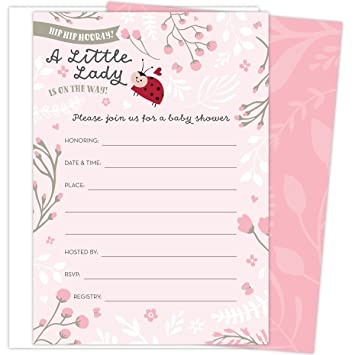 Amazon Com Little Lady On The Way Baby Shower Invitations For