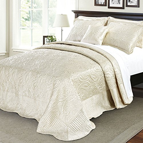 Home Soft Things Bondi Band Serenta Quilted Satin 4 Piece Bedspread Set, Queen, Champagne