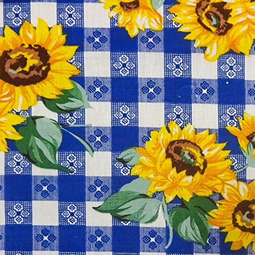 (Sunflowers on Blue Checkered Poly Cotton, 58