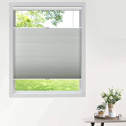 Charcoal Room Darkening Honeycomb Blinds Top Down Bottom Up Backside In White 8 W X 40