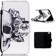 Uming® Lanyard Retro Colorful Pattern Print PU case [ for IPhone 5S 5 5G IPhone5S IPhone5 ] PU Flip Holster with Stand Stander Holder Hand Free Credit Card Slot Wallet Hasp Magnet Magnetic Button Buckle Shell Protective Mobile Cell Phone Case Cover Bag with Hand Strap Rope - Flower Skull