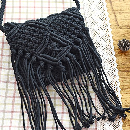 Flinged Bag Woman 20 Crossbody Tassel Hand 2018 Made Black Fashion Crochet Bag Qind Shoulder Straw Black 20 Bohemian Beach Woven w0nTq