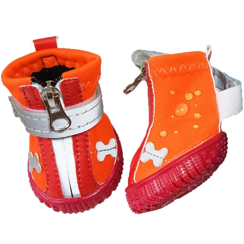 orange 1  orange 1  AUSWIEI Pet Clothing Supplies Non-Slip Waterproof Wear-Resistant Pet Dog shoes Autumn and Winter Dog shoes (color   orange, Size   1 )